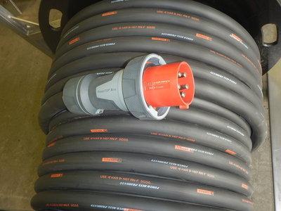 380V 125A 400V verlengkabel H07RN-F 5G50 met IP67 stekkers
